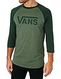 Vans Men's Vans Classic Raglan 3/4 Sleeve Sports Shirt, Multicoloured (White/Cardinal/Black), Large