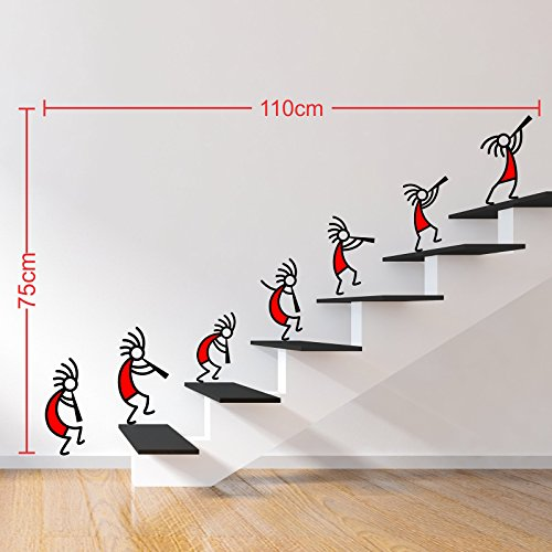 DeStudio Kokopelli Red Band Wall Stickers (Wall Covering Area : 110cm X 75cm )-13587-D
