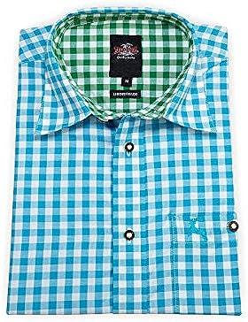 Stockerpoint Herren Trachtenhemd Langarm Türkis-Grün Karo 112204, Größe 38