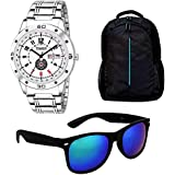 Timer Combo Of Laptop Bag And Silver Color Dial Watch With Sunglass For Men And Boys