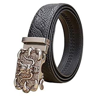 AH- Automatic Ratchet Men Belts Real Leather Gift Box Metal Carving Silver Dragon Buckle First Layer Leather Cowhide Belt Long 44-50 Black Blue Brown Coffee Boy Embossing Belt Casual Business