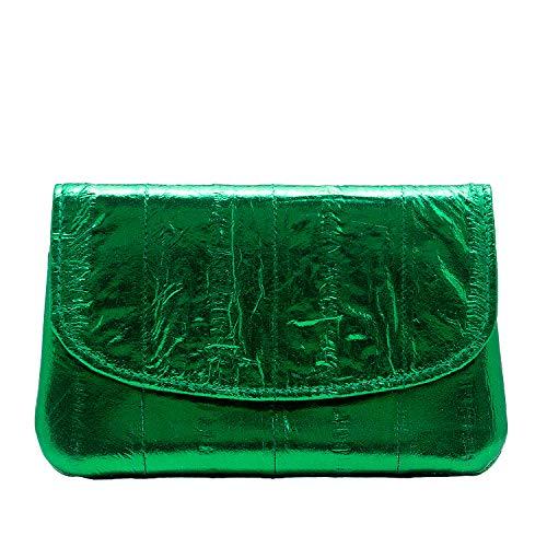 Becksöndergaard Geldbörse Handy Damen weiches Leder handlich Umschlagklappe Rainbow Kollektion Metallic Bayberry leuchtendes Grün - 1807100008-530