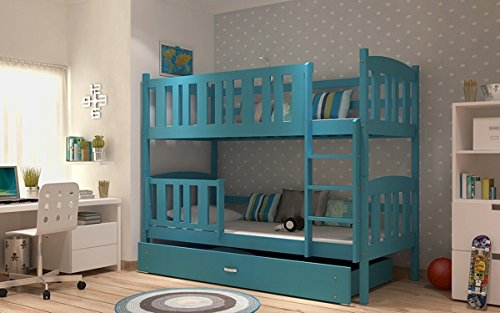KUBA BUNK BED KIDS CHILDRENS WITH FREE MATTRESSES AND STORAGE DRAWERS FREE DELIVERY (Blue)