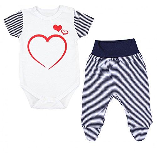 TupTam Unisex Baby Bekleidungsset mit Aufdruck 2 TLG, Farbe: Streifenmuster Dunkelblau, Größe: 56