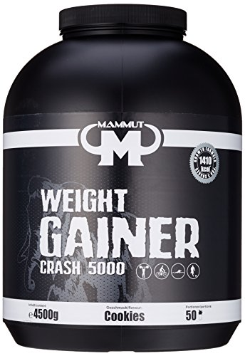 Mammut Weight Gainer Crash 5000 Cookies Kohlenhydrate Masseaufbau Kreatin, 4500 g Dose