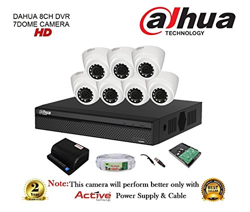Dahua Dh-xvr4108hs 8ch Compact Dvr 1pcs + Dahua Dh-hac-hdw1100rp-0360b Dome Camera 7pcs + 1tb Hdd + Active Copper Cable + Active Power Supply Full Combo Kit.