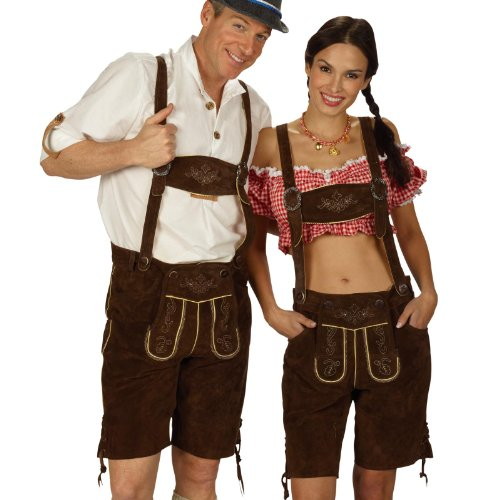 Lederhose Damen, kurze Trachtenhose, Echtleder, braun, fürs Oktoberfest - 40