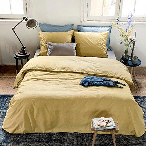 Walra Perkal Bettwäsche 2 teilig Bettbezug 135 x 200 cm Kopfkissenbezug 80 x 80 cm The New Vintage 1204396 Ockergelb