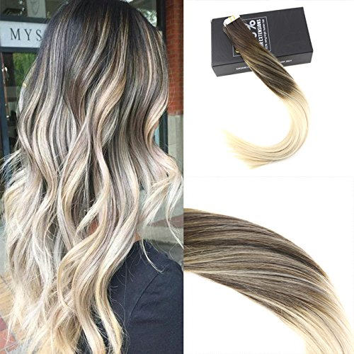 Sunny 2.5g/pcs 40cm highlight balayage accessori tape in extensions capelli bionda con marrone #2/60 veri 20ciocche