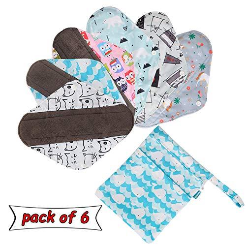 Teamoy 6 Stück Slipeinlagen Waschbar, Wiederverwendbare Binden, Baumwolle Menstruation Pads mit EXTRA Waschbare Tasche, (Klein-20,5 cm / 8 Zoll) -