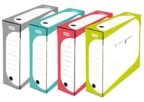 ELBA 400070172 Archivbox SOHO 4er Pack 8 cm breit aus Karton 4er Pack sortiert grau, blau, rot, grün Aufbewahrungs-Box Archivschachtel Deko-Box