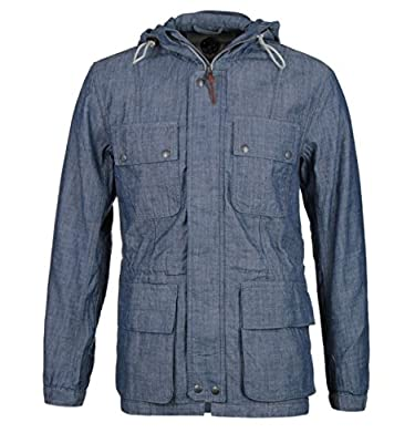 Mens Blue Pretty Green Tarbet Chambray Denim Blue Hooded Jacket