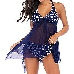 Innerternet Femme Eté Tankini Maillot de Bain Bikini Set 2 Pièces Shorty avec Gilet Gaze sans Manches 2 Couleurs Taille Grande