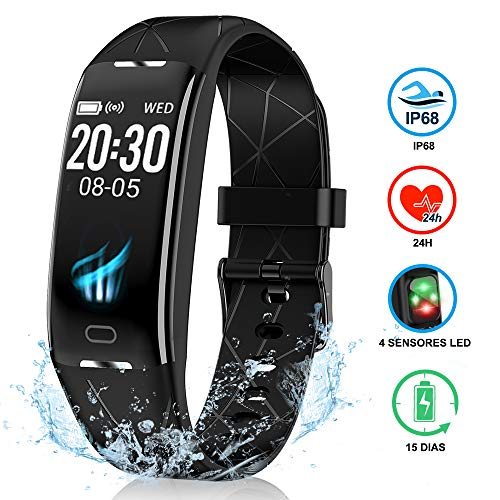 NAIXUES Pulsera Actividad Inteligente GPS, Pulsera Deportiva IP68 para Natación, 7 Modos Deportes, Monitor Cardiaco Reloj Pulsaciones, Niños Mujeres Hombres, Compatible con iOS y Android