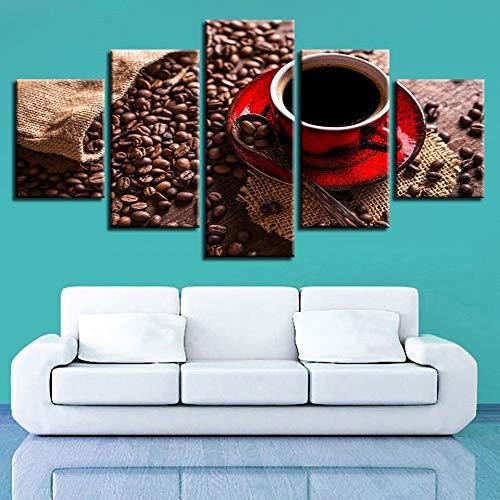 mmwin Kunst Leinwand Bilder Modulare Poster 5 Stücke HD Druck Kaffeebohnen Und Kaffee s Wohnzimmer Wanddekoration Arbeit - Chart Leinwand Arbeit