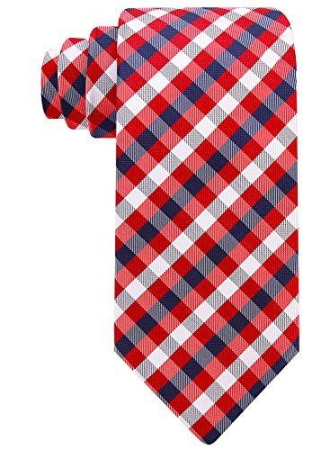 Gewebte Karomuster (Scott Allan Herren Krawatte mit Karomuster, gewebte Krawatte - Rot -)