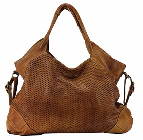 BZNA Bag Tia Cognac Braun Italy Designer Damen Handtasche Schultertasche Tasche Leder Shopper Neu