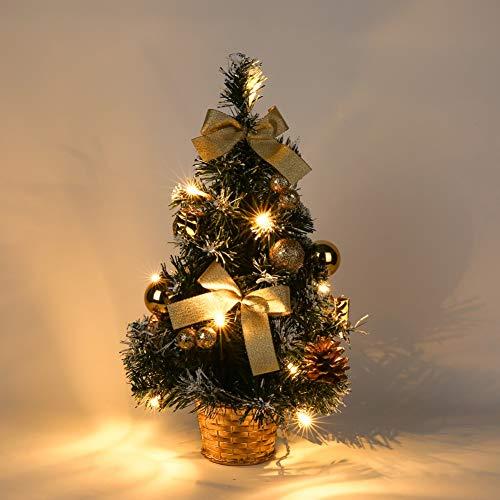 Artbro Pequeño árbol de Navidad Árbol de Navidad Artificial con luz led para decoración de Escritorio de Oficina en casa Dorado 40CM