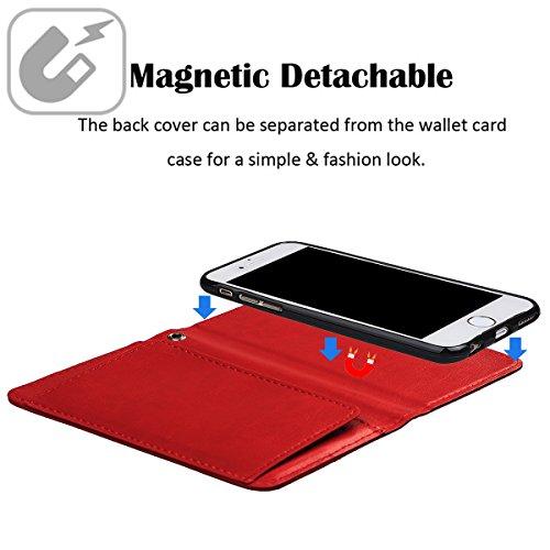 """xhorizon TM MLK [détachable] [séparable] 2 en 1 haut de gamme en cuir double-pli carte magnétique soutien le téléphone Compatible avec l'étui portefeuille avec cordon pour iPhone 7 Plus [5.5""""] avec 9H rouge +9H Glass Tempered Film"""