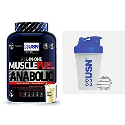 USN Muscle Fuel Anabolic Lean Muscle Gain Shake Powder - Vanilla, 2 kg with USN Metal Ball Mixer Shaker, 400 ml