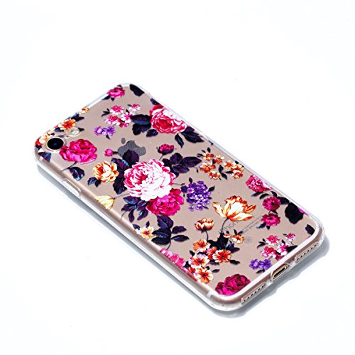 iphone 7 Plus Hülle,iphone 7 Plus Case,iphone 7 Plus Silikon Hülle [Kratzfeste, Scratch-Resistant], Cozy Hut iphone 7 Plus Hülle TPU Case Schutzhülle Silikon Crystal Kirstall Clear Case Durchsichtig,  Farbige Rosen