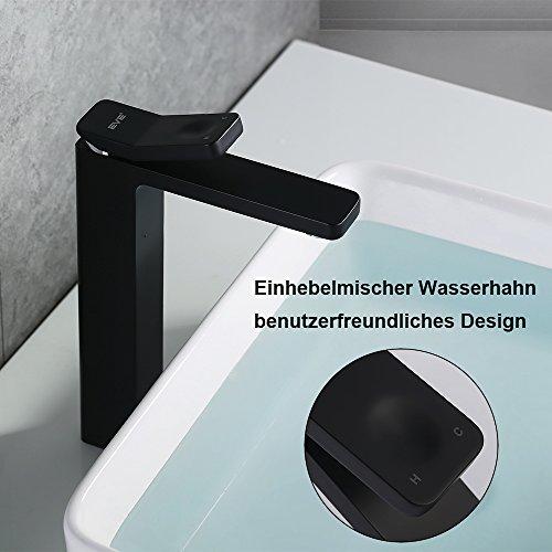 Homelody – Zeitgenössische Waschtischarmatur, Einhebel, ohne Ablaufgarnitur, hoher Auslauf, Schwarz - 2