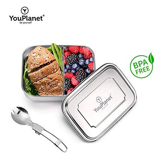 YouPlanet® Premium Lunchbox 1000ml aus Metall - Edelstahl mit Trennwand - BPA Frei - Bento Box für Kinder und Erwachsene - Brotdose, Brotbüchse, Vesperdose - inkl. GRATIS Besteck (Sport-lunch-boxen Erwachsene Für)