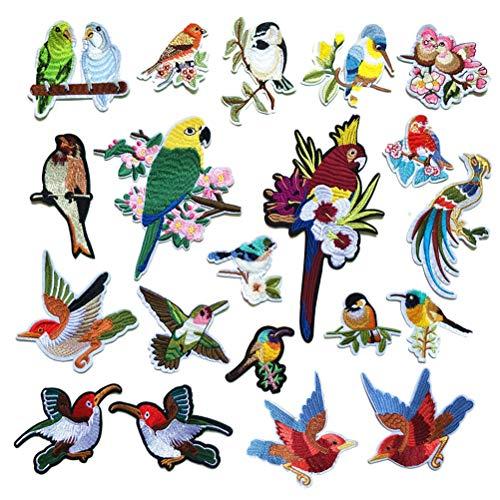 Supvox Vogel Patches Handarbeit Nähen Patches Stickerei Applikationen Stoffpaste DIY Kleidung Zubehör 20 Stücke