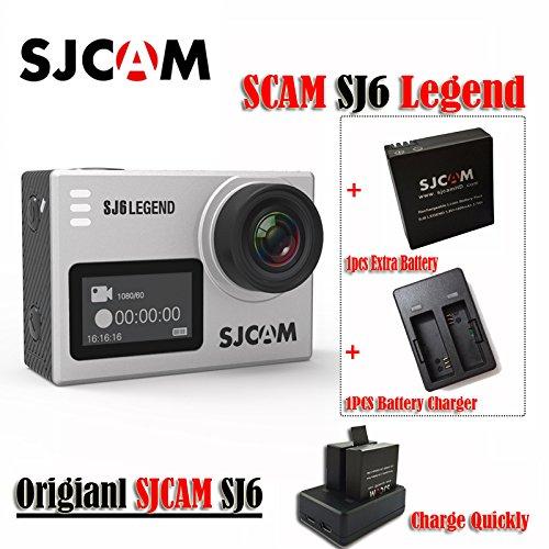 16GB TF Karte + Original SJCAM SJ6Legend 4K Action Kamera 16MP/Dual Bildschirm/2.0Touchscreen/Gyro Stabilisierung/externes Mikrofon, Fernbedienung unterstützt/WiFi Unterwasser Kamera mit wasserdichte Schutzhülle (Sliver)