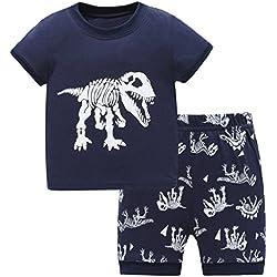 Juego de pijama para niños de 2 a 7 años con dinosaurios, de Hugbug Negro negro 2 años