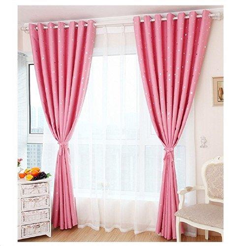 ZZM Verdunklungsvorhänge, Sternen-Muster, isoliert, für Schlafzimmer, Kinderzimmer, 100cm x 250cm rose (Gardinenstange 28x48)
