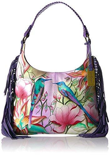 Anuschka handbemalte Ledertasche, Mode Schultertasche für Damen, Geschenk für Frauen, Handgefertigte Taschen mit Fransen, Große Hobo Handtasche (Spring Passion 586 SPP) (Hobo Anuschka)