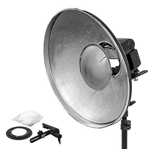 "Beauty Dish Silber Reflektor Kamerablitz Aufsteckblitz 42\"" L-Form Blitzgerät-Halterung Portraitfotografie \""Weiwa\"""