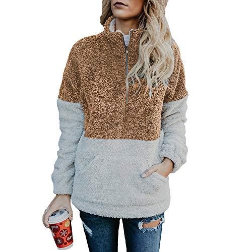 Elsta Damen Sweatshirt Reißverschluss Sweater Langarm Rundhals Pulli Tunika Hemden Basic Shirts Warm Oberteile Elegant Pullover Bluse...