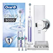 Oral-B Genius 9000 Sensi Ultrathin Electric Toothbrush Rechargeable, 1 Orchid Purple App Connected Handle, 6 Modes, Pressure Sensor, 4 Toothbrush Heads, USB Travel Case, UK 2 Pin Plug