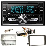 Kenwood DPX-7100DAB Bluetooth USB MP3 Autoradio iPhone iPod Doppel Din AOA 2.0 DAB+ Digitalradio Einbauset für Mercedes C-Klasse W203 CLK W208 W209