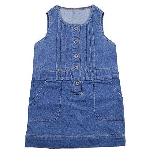 ragazze Guancheng denim senza maniche faux dell'arco del vestito punto dell'onda 100% cotone per bambini Abbigliamento per bambini Sundress Size 4-12 (110)