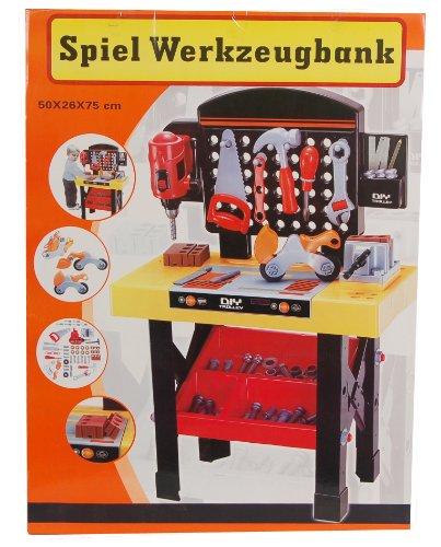 45-tlg Spiel Werkzeugbank mit Bohrmaschine, Schraubblock, Werkzeug und Zubehör