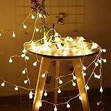 Sooair Catena Luminosa, 100 LED Ghirlanda Luminosa Lampadine Modalità Catena Luminosa Esterno per Decorazioni Natalizie da Giardino per Feste in Camera Luci a Aatena da Esterno (bianco)