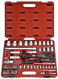 FAMEX 580-28 Mechaniker Steckschlüsselsatz mit Feinzahnknarren 66-teilig, 12,5mm (1/2-Zoll)-und 6,3mm (1/4-Zoll)-Antrieb, 4-32 mm