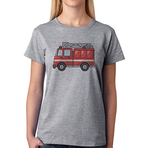 Car Vehicle Four Wheels Auto Fire Truck Red Small Damen T-Shirt Grau