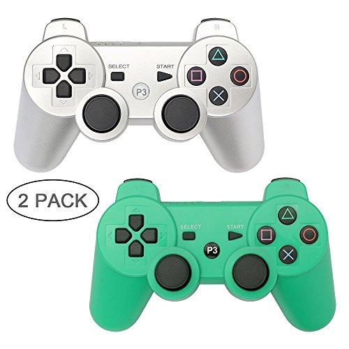 PS3 Controller 2 Pack Wireless Bluetooth 6-Achsen Gamepad Controller für Playstation 3 Dualshock 3 Silver+Green (Remote Controller Playstation)