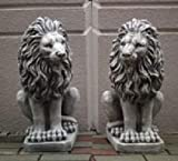 2 Löwen Set (S103055+S103056) Torwächter Gartenfiguren Statuen Steinguss 53 cm