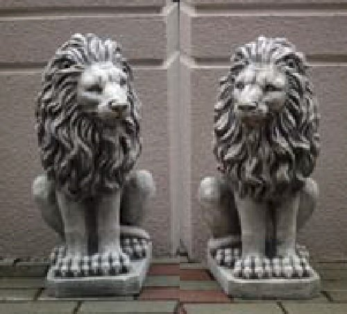 2 Löwen Set (S103055+S103056) Torwächter Gartenfiguren Statuen Steinguss 53 - Outdoor-löwen-statuen