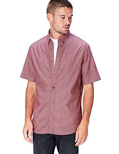 find. Herren Kurzarmhemd mit Dobby-Muster, Rosa (Dusty Pink), X-Large - Dobby Kurzarm-shirt