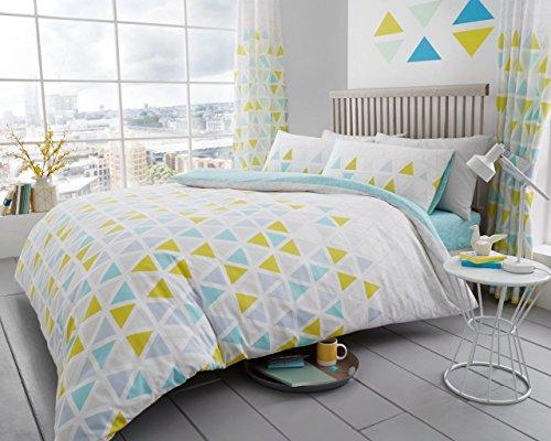 Geo Tröster Set (Bettbezug, bedruckt Set Weich & extrem strapazierfähig Beste Qualität   Geomatric Design   Geo Dreieck Blaugrün   by Coton Modus, King Size)