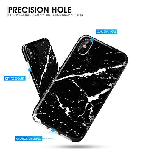 iPhone X Hülle, iPhone X Case, Pasonomi [Schwarz Marmor Serie] Flexible TPU Silikon HandyHülle Schutzhülle für Apple iPhone X / iPhone 10 5.8 Zoll (Schwarz) Schwarz