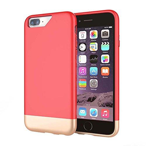 """MOONCASE iPhone 7 Plus Coque, Slim Fit Robuste PC Combination Bumper Housse Durable Antirayures Antichoc Protection Case pour iPhone 7 Plus 5.5"""" Bleu Ciel Rouge"""