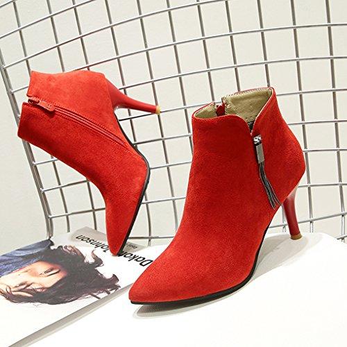 Alto A Di Scarpe Stivali Da Stivali Camoscio Sera Tacco Invernali Punta Sexy Donna Rosso Oaleen 8FfcqwdBYY