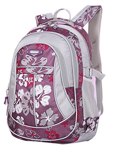 SellerFun® Kid Child Girl Flower Printed Waterproof Backpack School Bag(Purple,Large)